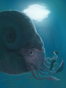 Giant ammonite fantasy illustration